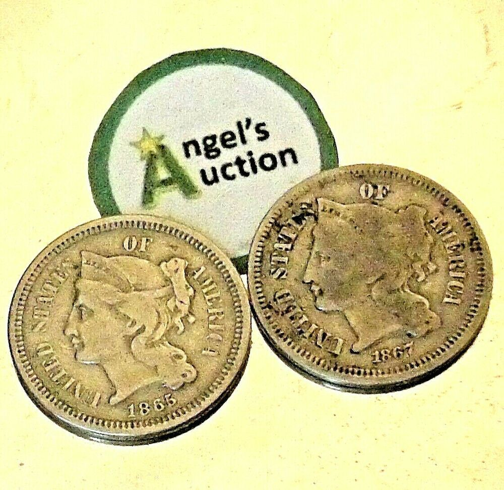 Silver Three Cent 1865 And 1867 Aa20 Cn2138 Antique In 2020 Antiques Silver Coins Silver