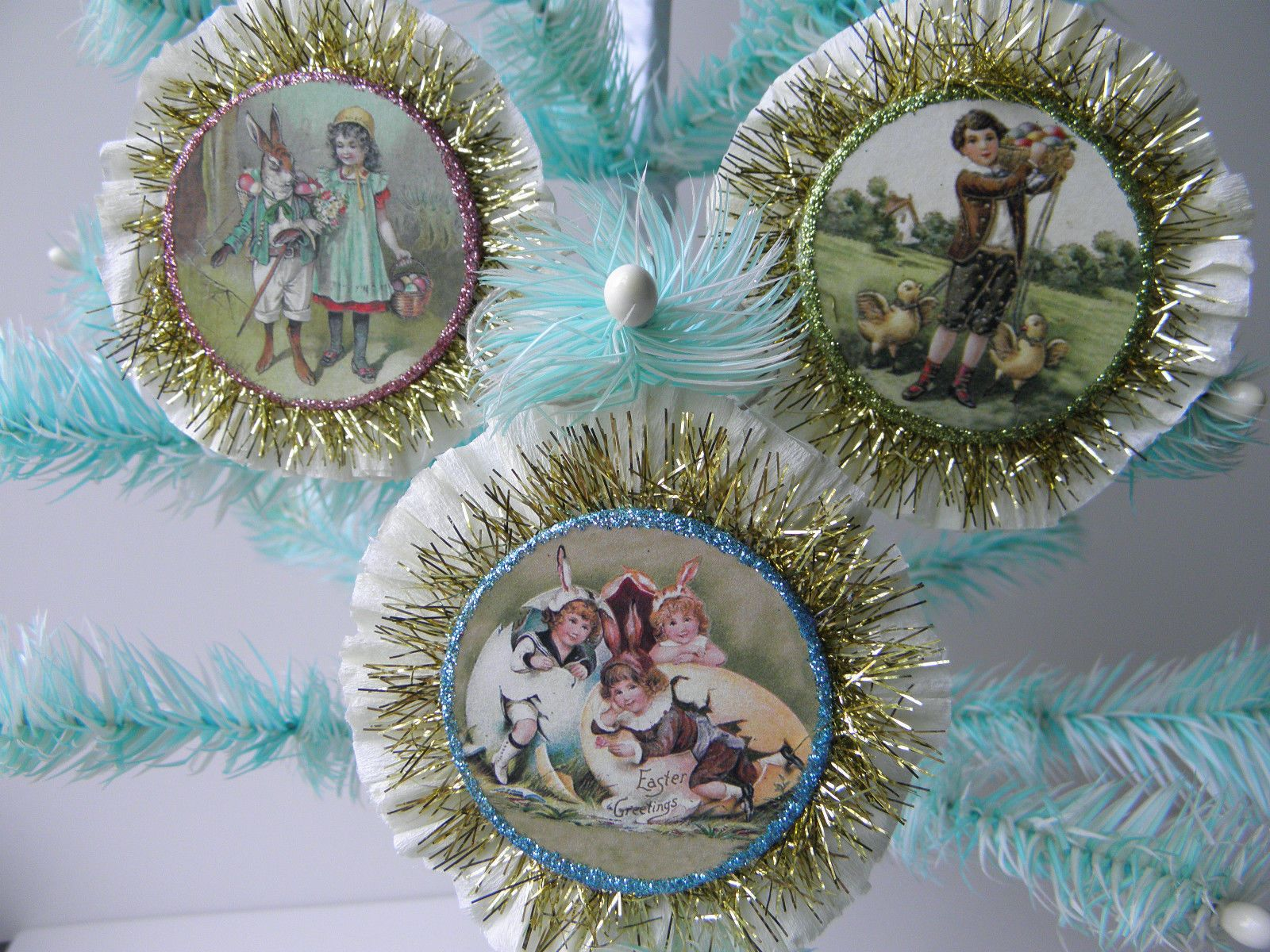 Bethany Lowe Easter Spring Feather Tree Ornament Crepe Rosette Set 3 | eBay