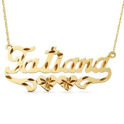 Tatiana 12k gold fill double heart diamond cut name plate pendant tatiana 12k gold fill double heart diamond cut name plate pendant mozeypictures Gallery