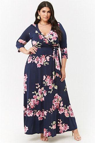 4781ec48790 Plus Size Floral Surplice Maxi Dress