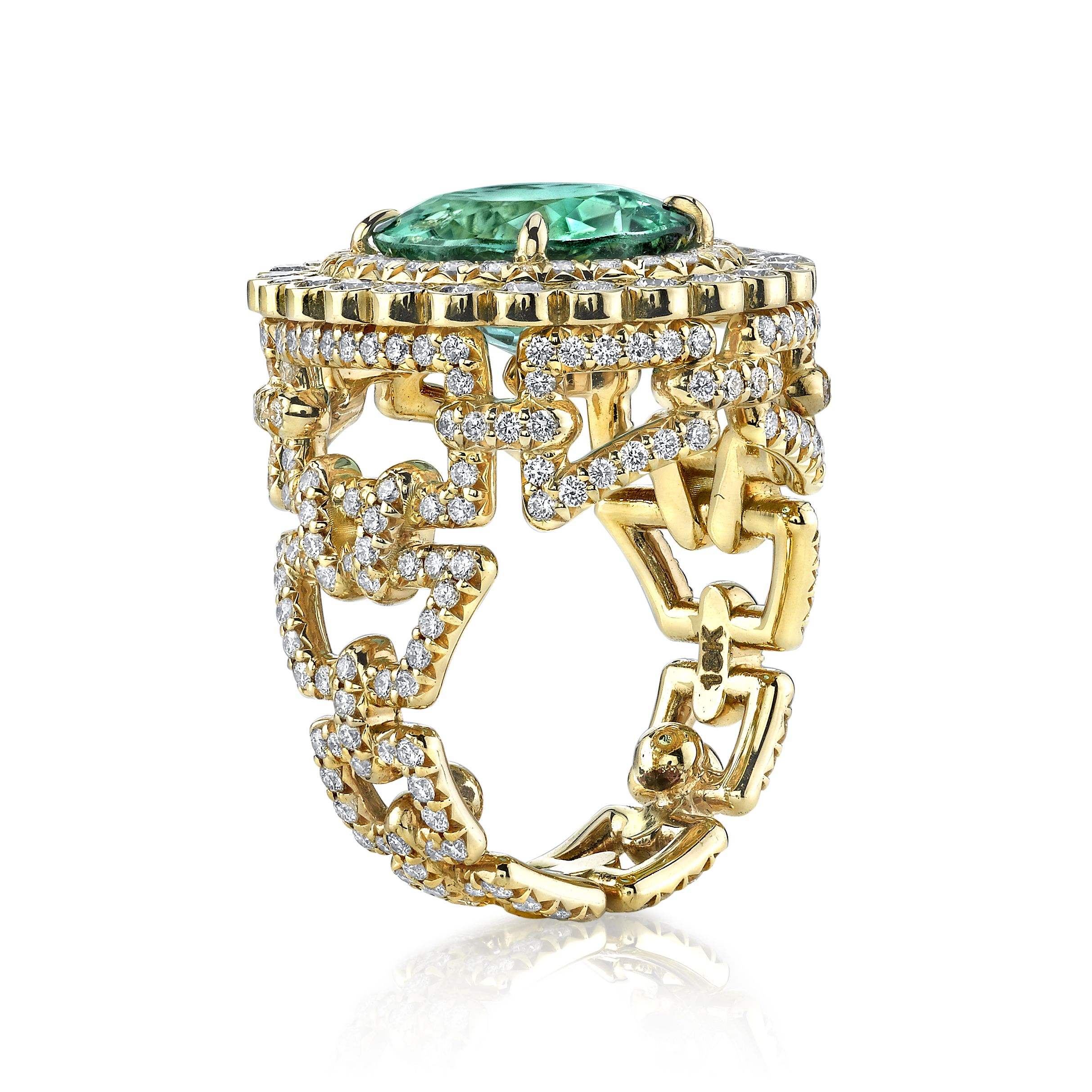 While the more unusual cuts of diamonds have been gathering momentum - 18k Gold And Diamond Brazilian Tourmaline Bracelet Ring By Erica Courtney