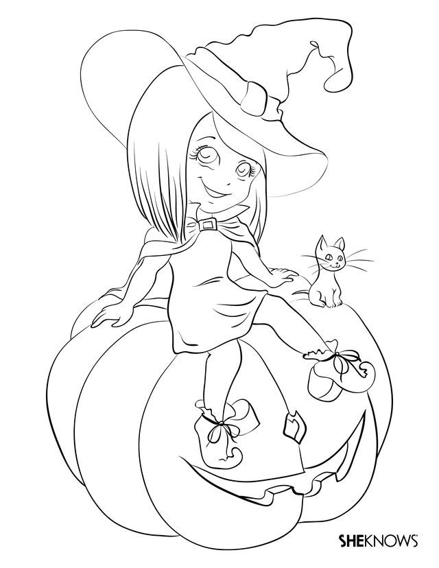 Halloween Coloring Sheets For Kids Black White Pumpkin Witch
