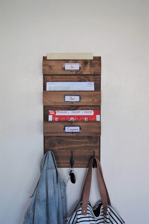 Wall Mount Key Holder Newspaper Magazine Coat Rack Organizer With 12 Steel Hooks