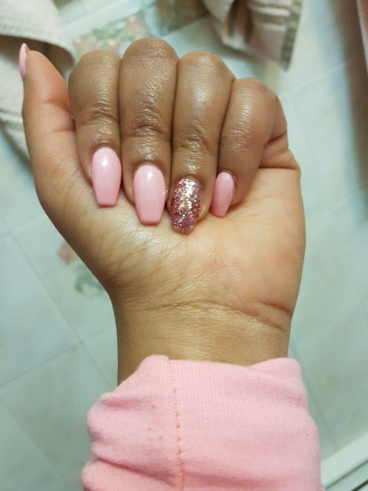 Simple Standard Gelicure 35 Light Pink Acrylic Nails Pink Acrylic Nails Glitter Nails Acrylic