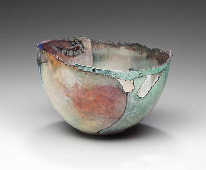 "Judy Stone | From her series of  ""destructed"" vessels entitled 'burnt offerings' ~ homage to enameling and to  the power of heat and fire"