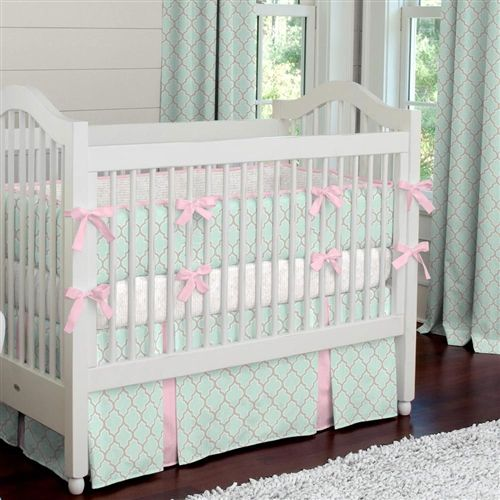 mint and pink quatrefoil crib bedding carousel designs mint