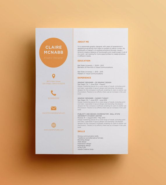 Etsy Resume Template  The Living Resume    Cv Template