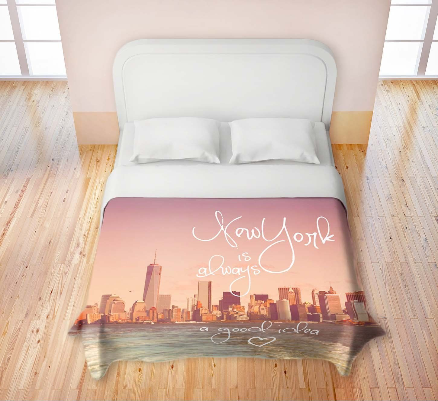Pink New York City Themed Skyline Bed Set Bedding Nyc