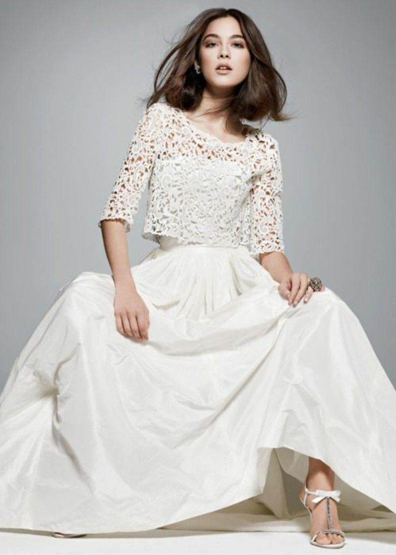 Dress for registry office long wedding dress with lace top | Trends ...