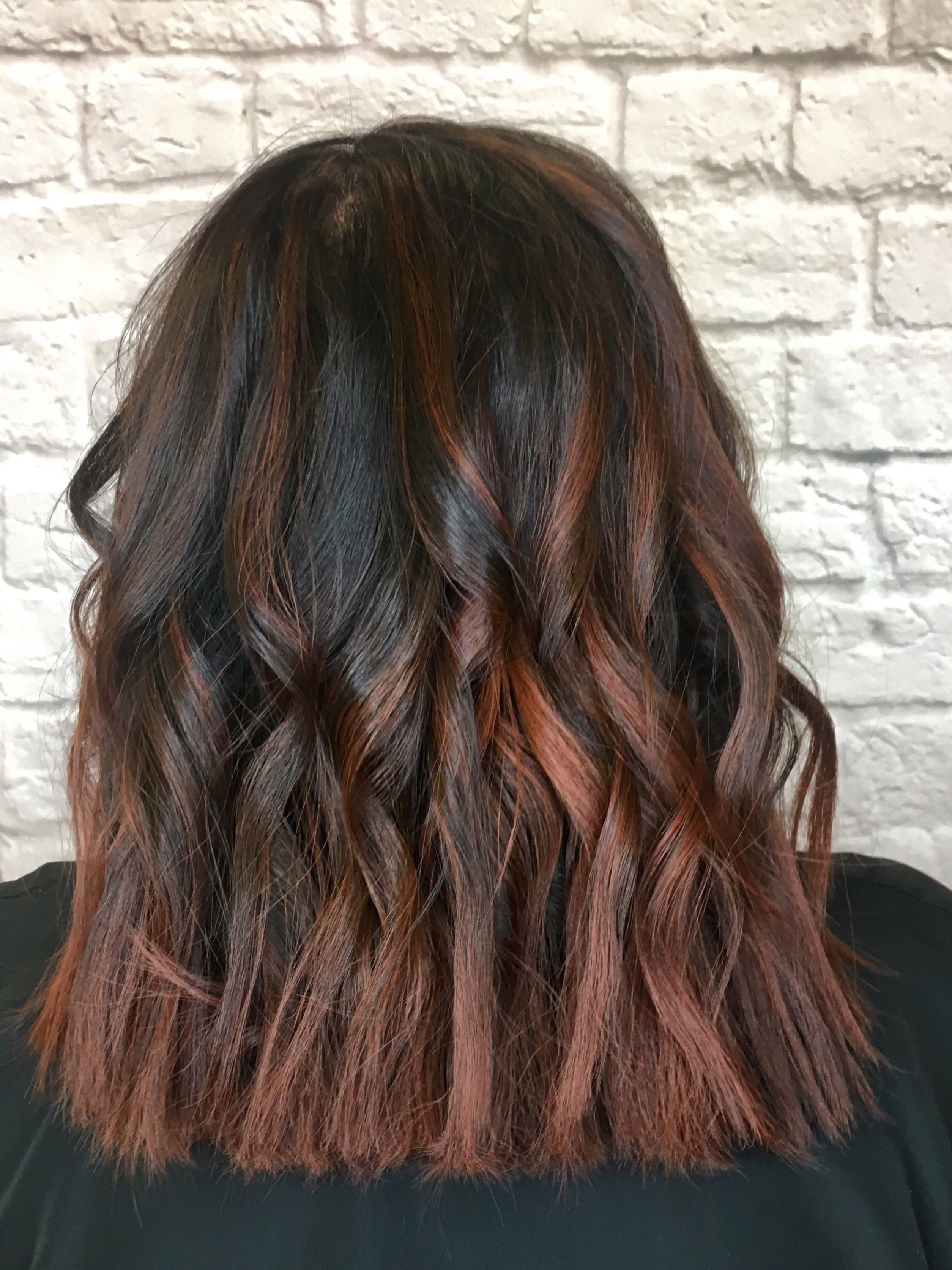 Red brown copper balayage on Asian hair using Redken Shades EQ 05CB 06RB 07NW STLStylistGrace