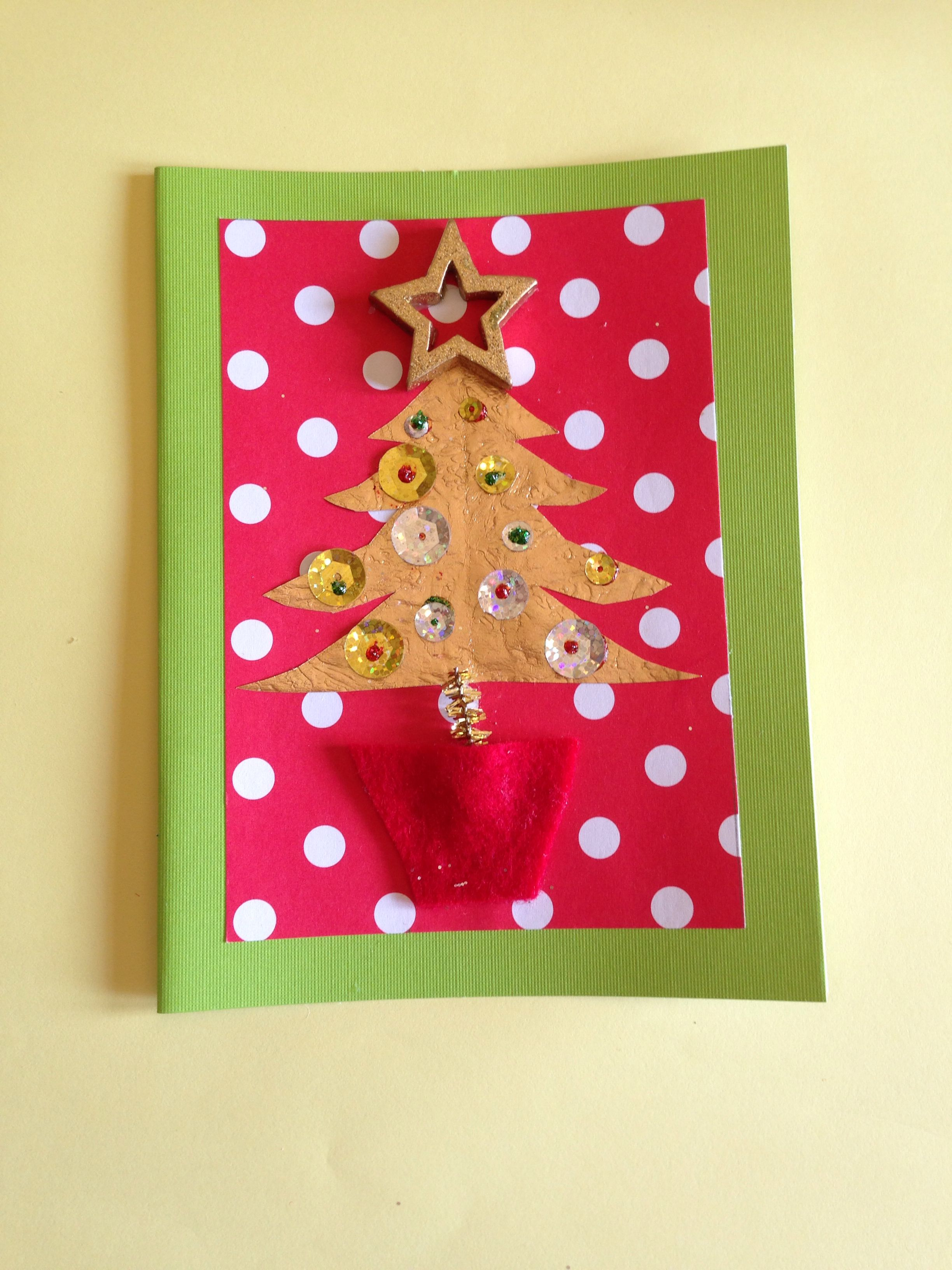 8 year old brother made this #christmas #cards #craft #green #red ...