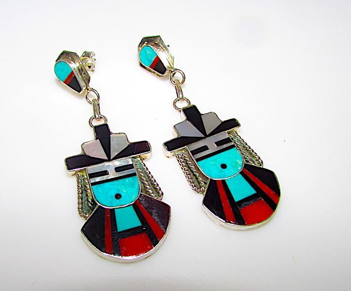 Vintage Zuni Kachina Sterling Silver Turquoise Coral MOP Jet Mosaic Inlay Statement Dangle Earrings