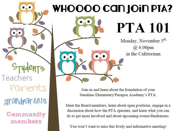 PTA meeting flyer! Nice graphics and very welcoming! | Proud PTA/PTO