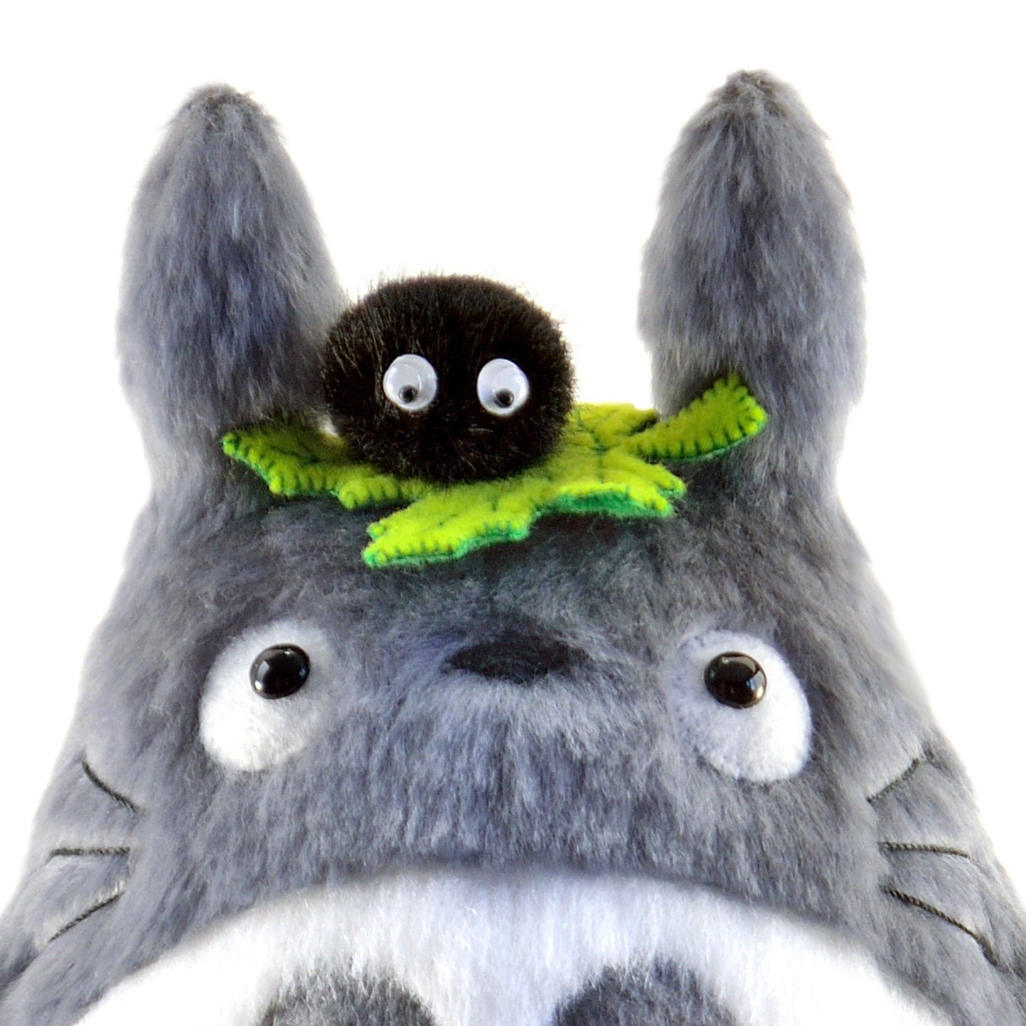 Cute totoro with leaf and soot sprite my neighbor totoro