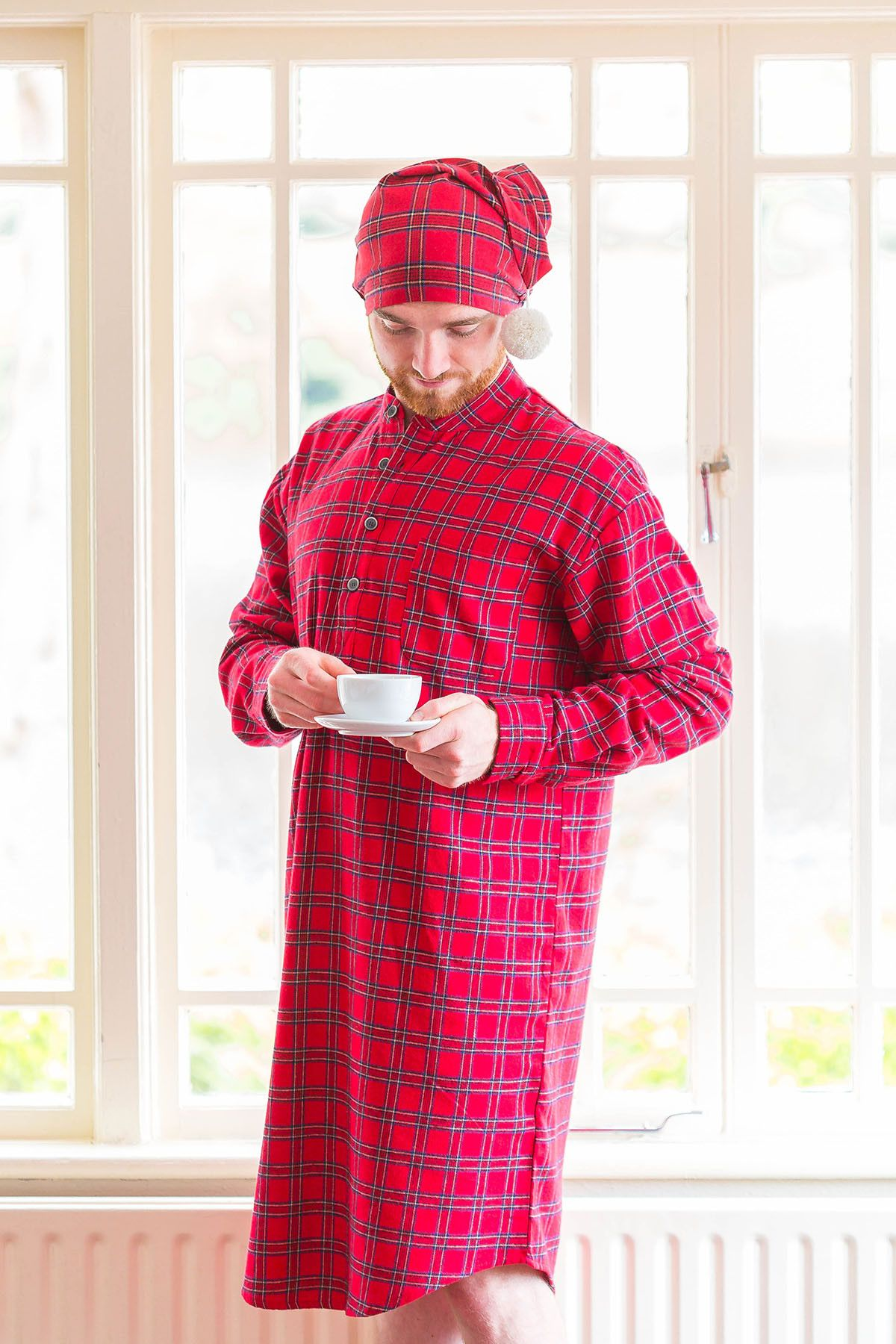 a51e1d1213 Nightcap Cotton Flannelette Mens - Red Tartan Royal Stewart (LV27)   aranjumpers  irishflannel  leevalleyireland  grandfathershirt   fabulousflannel ...