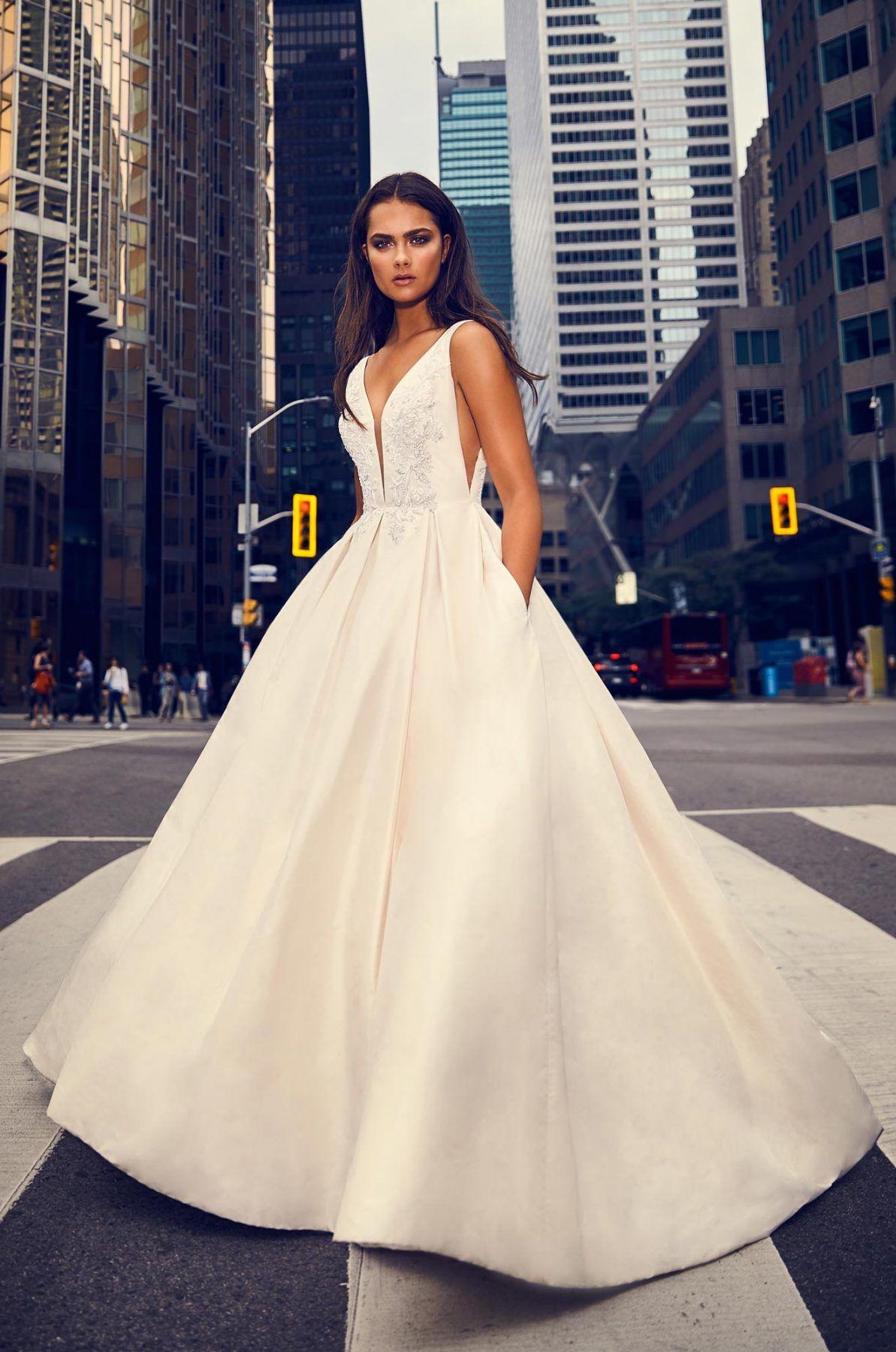 69fea143149b Sleeveless V-neck ball gown silk wedding dress. | Paloma Blanca Style: 4825