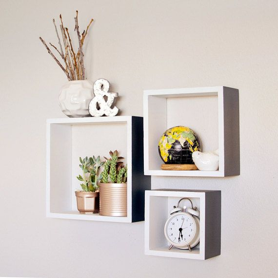 Square Shelves Set Of 3 Wood Shelves By Blissnotions