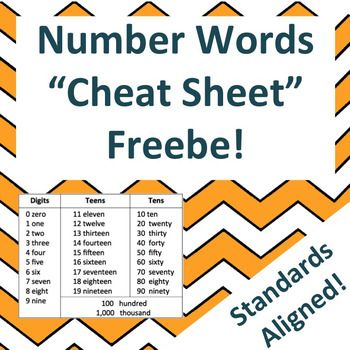 "Number Words ""Cheat Sheet"" Read and Write Numbers in Word Form ..."