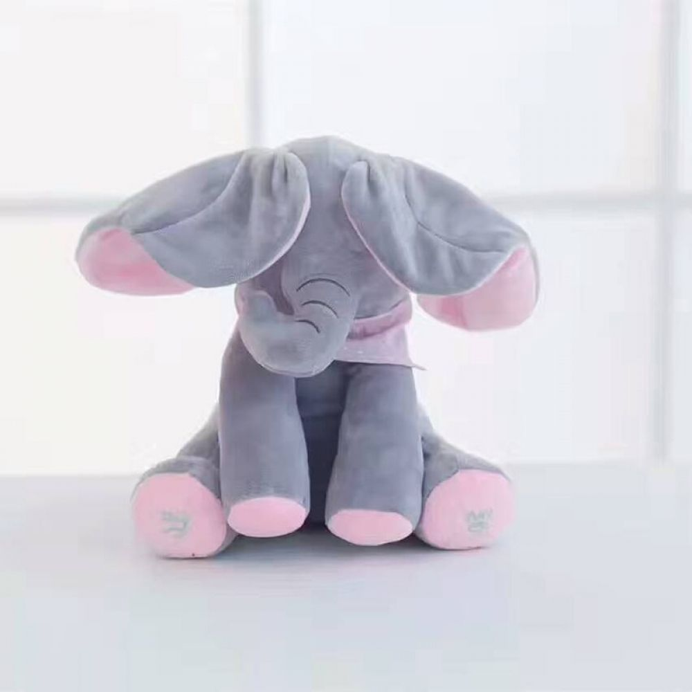 Peek-a-boo Elephant Baby Plush Toy Singing Stuffed Music Cute Doll Kids Gifts