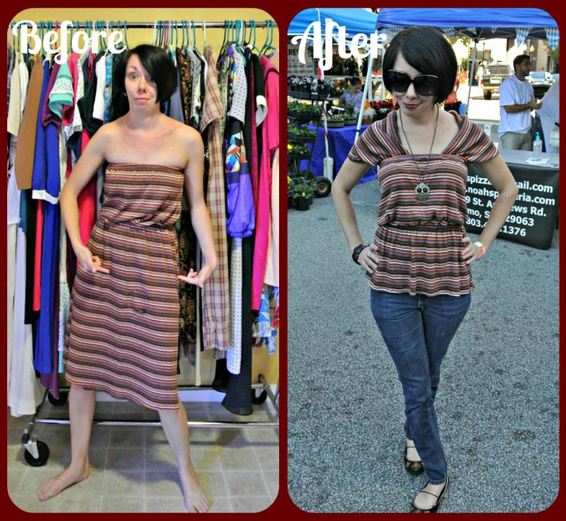 Refashionista / A Cowl Back Conversion. Look how she repurposed a Thrifted 50 cent Dress! Wow!
