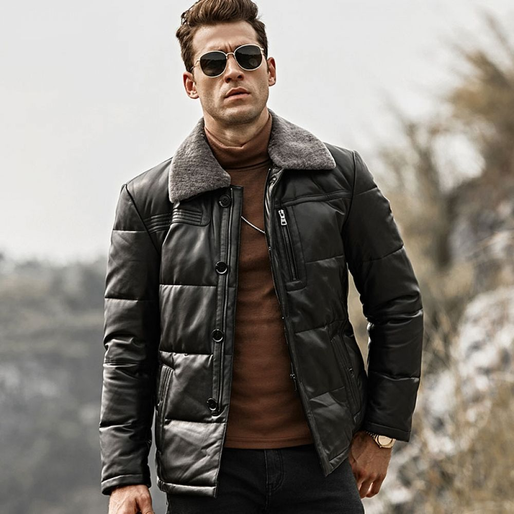 Men Lambskin Genuine Leather Duck Down Jacket Leather