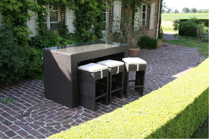 Set mange debout en r sine tress e 6 places couleur for Meuble terrasse resine