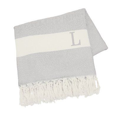 Cathys Concepts Personalized Turkish Cotton Throw Letter: L