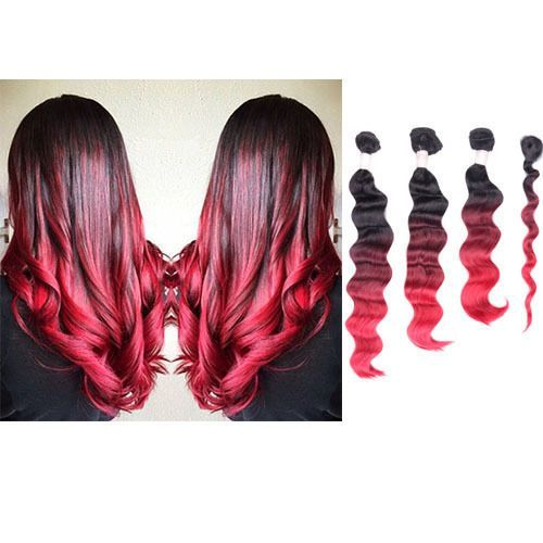 4 Bundles Ombre Dye Natural Black To Bright Red Full Head Weft Hair Extensions Red Ombre Hair Ombre Hair Color Hair Color For Black Hair