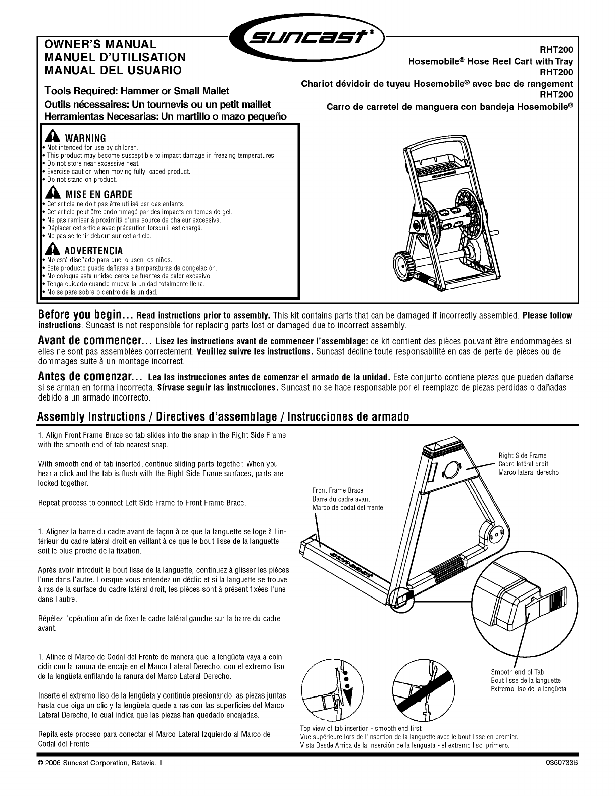 Suncast Hose Reel Cart Instruction Manual | ManualsOnline.com | DIY ...