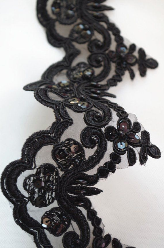 black bead lace trim, black alencon Lace Trim, black cord lace trim, black sequined lace trimming