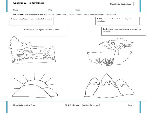 Worksheets Landforms Worksheet landforms worksheet 2 homeschooling earth science pinterest 2