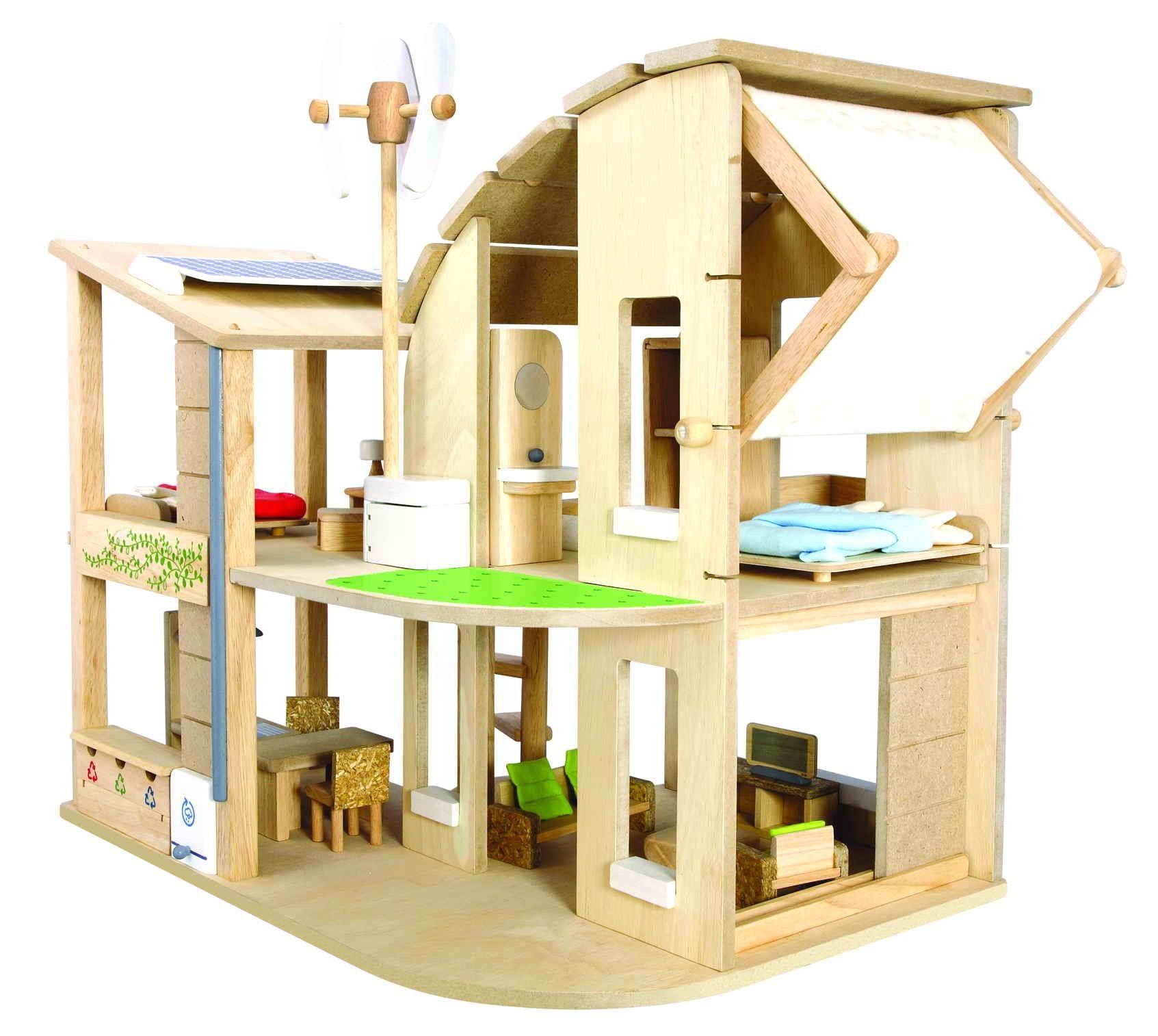 green dollhouse with furniture  plan toys  試してみたいこと  - green dollhouse with furniture  plan toys