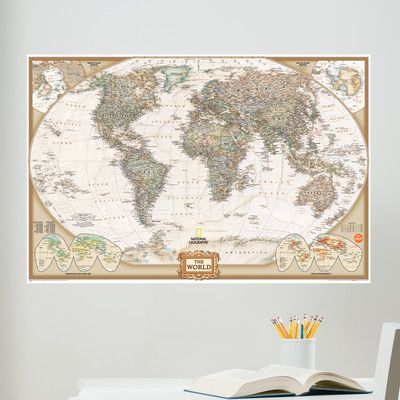 Wall art kit national geographic world map wall mural decor wall pops national geographic dry erase world map decal x joann gumiabroncs Choice Image