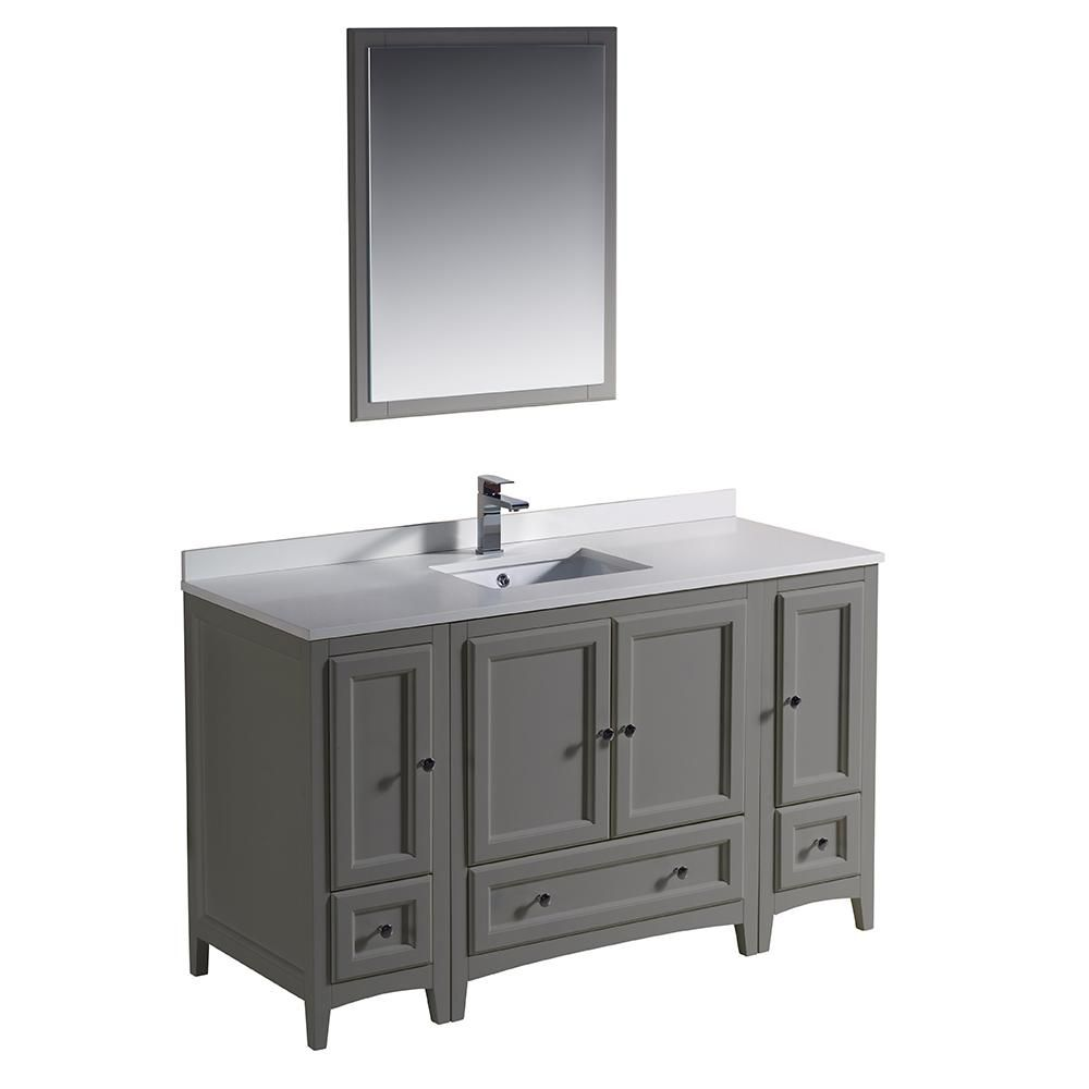 Fresca Oxford 54 In Traditional Bathroom Vanity In Gray With
