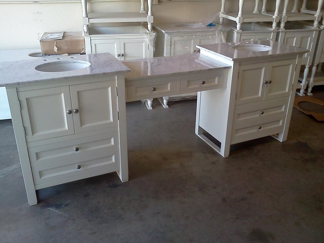 westside double made in the usa bathroom vanity with makeup table