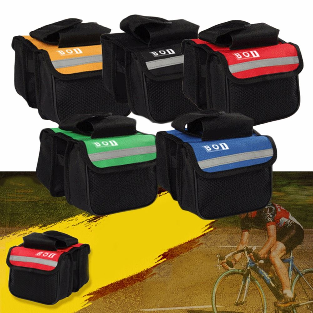 Bicycle Cycling Frame Pannier Saddle Front Tube Bag Both Side Double Pouch RE