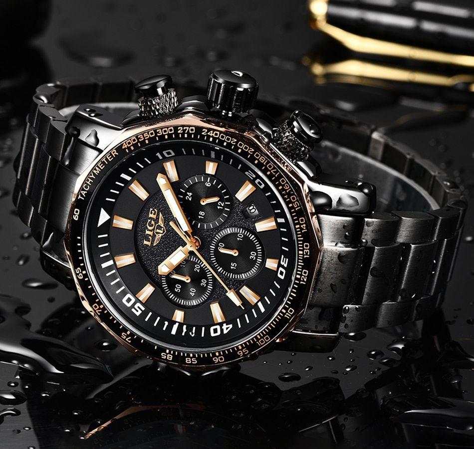 2020 Lige Reloj Cuarzo Lujo Acero Militar Deportivo En 2020 Reloj De Hombre Caja De Acero Inoxidable Reloj