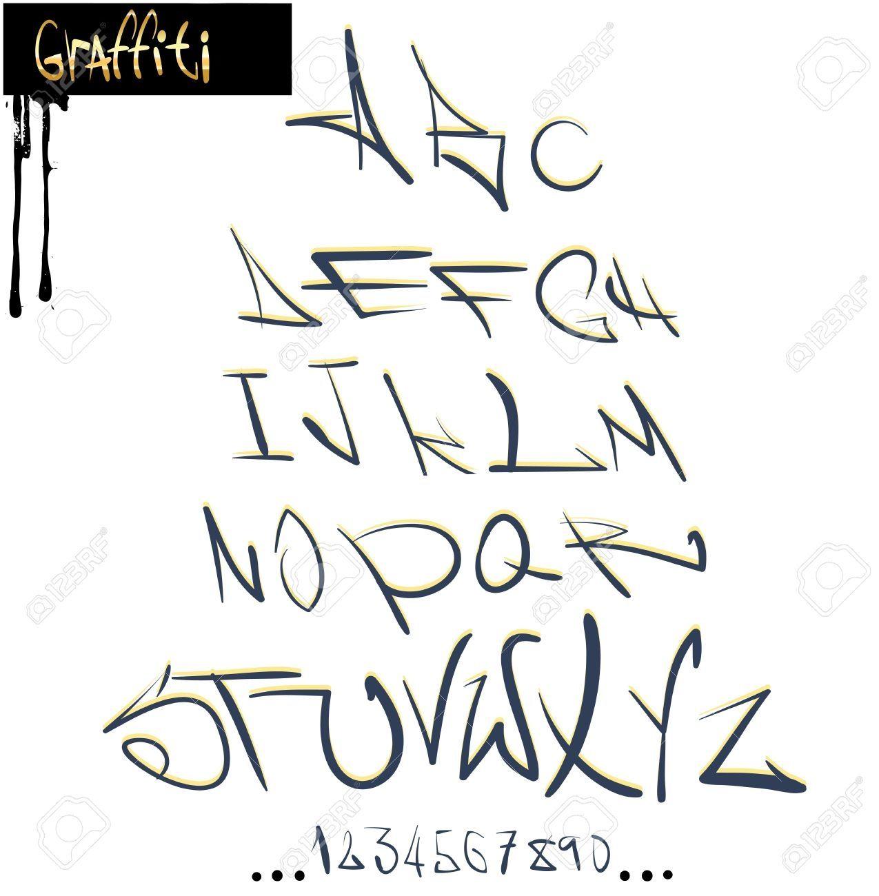 Graffiti alphabet fonts az graffiti font alphabet abc letters royalty free