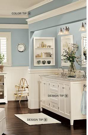 I love the cornice idea above the mirror humm bathroom color bm wedgewood gray pottery barn for Pottery barn bathroom paint colors