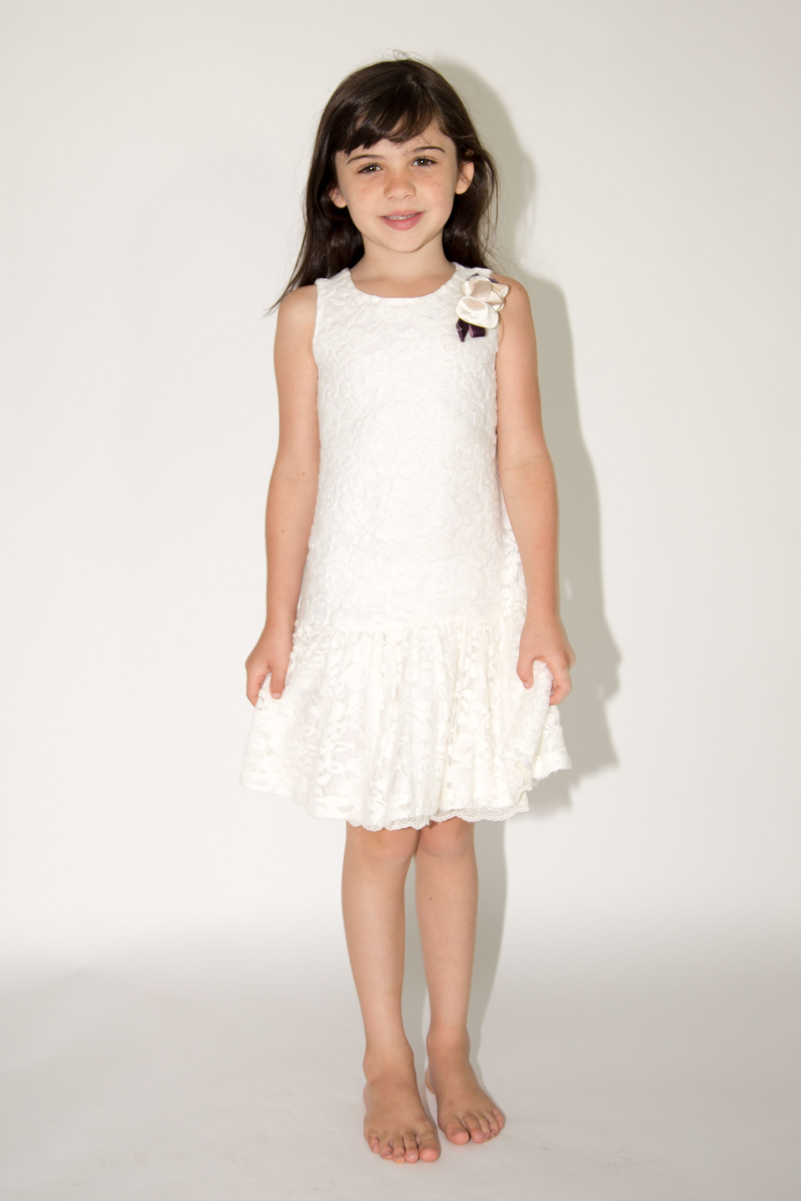 Dropwaist lace dress with flowers at neckline blush girl