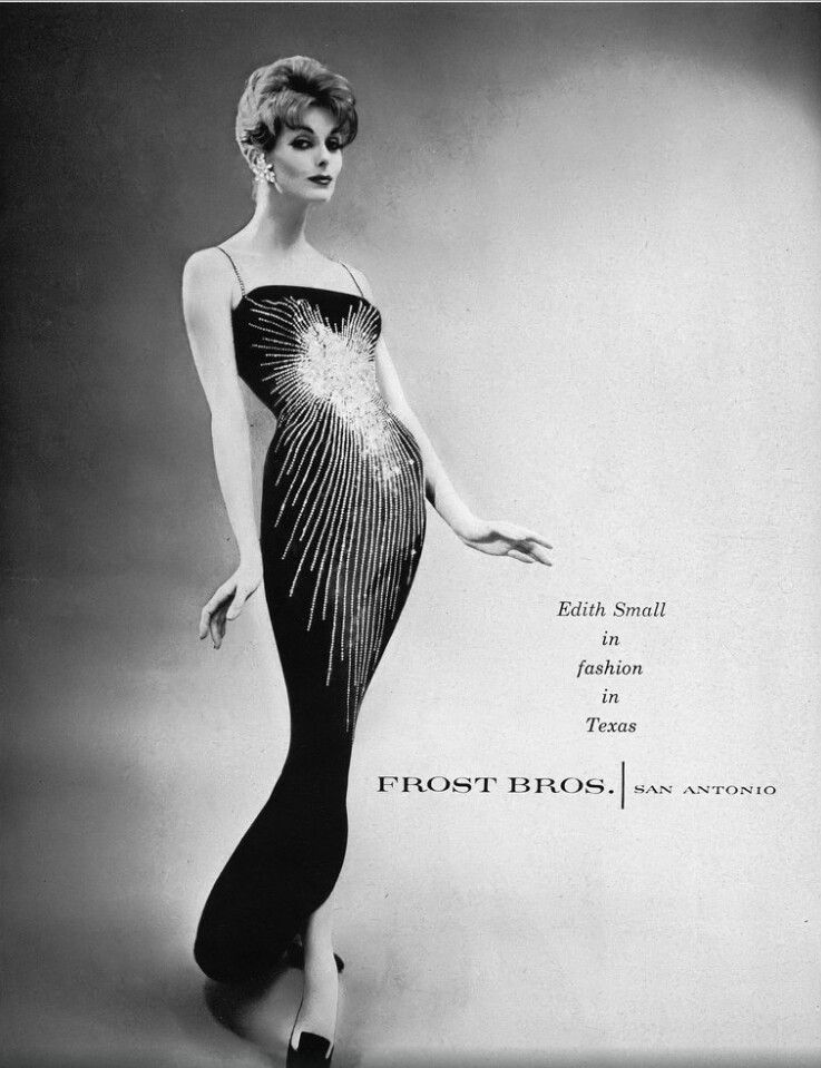 Anne St Marie in a sequined sheath by Edith Small, Vogue