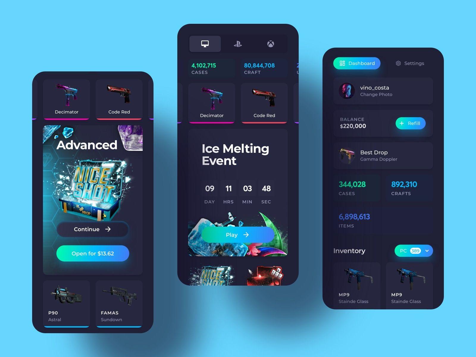 Skin Gambling Platform Mobile Screens in 2020 Web design