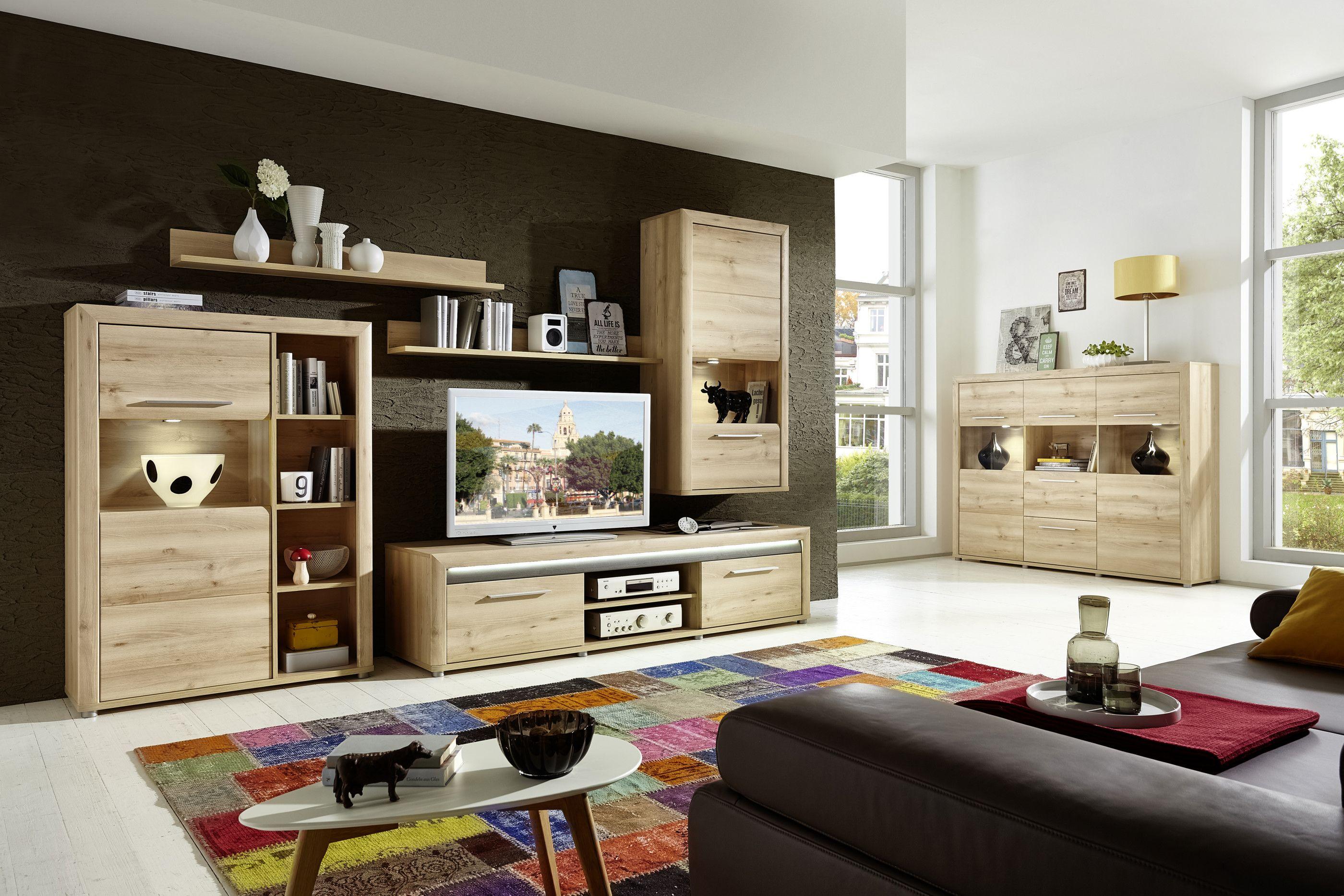 Wohnzimmer Buche ~ Wohnwand und highboard buche hell mit beleuchtung woody 22 00759