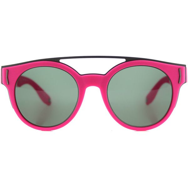 09750a8c463 Givenchy GV 7017 VFA Fluorescent Fuchsia Round Plastic Sunglasses (815 BRL)  ❤ liked on