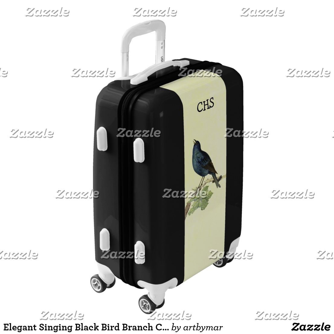 Elegant Singing Black Bird Branch Caterpillar Luggage