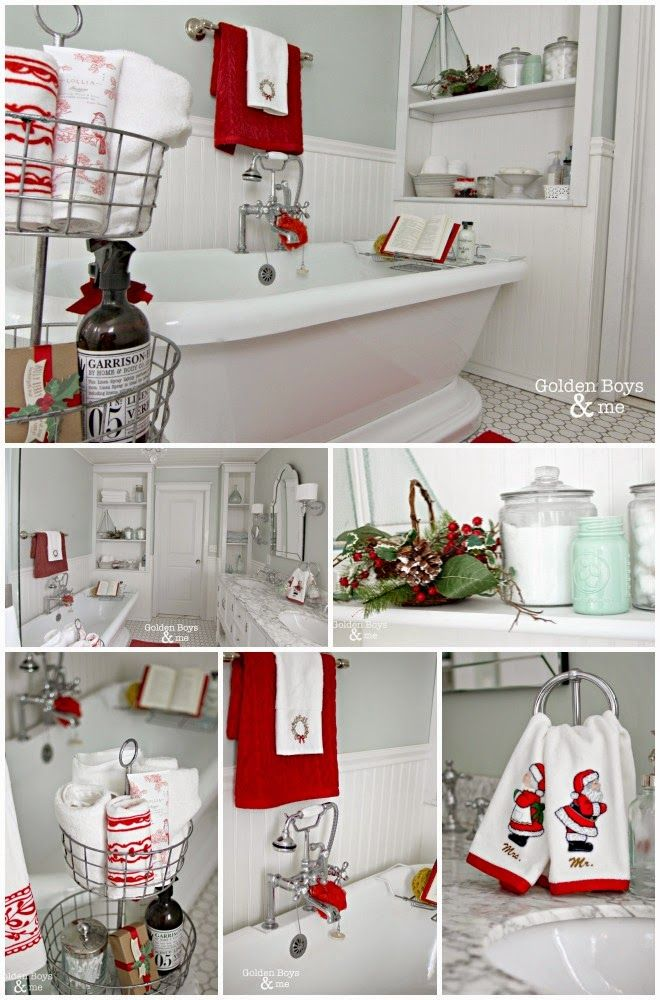 diy master bathroom with pedestal tub with christmas decor wwwgoldenboysandmecom