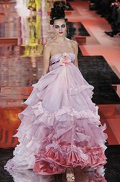 Christian Lacroix Couture Spring 2005 Pink Strapless Gown