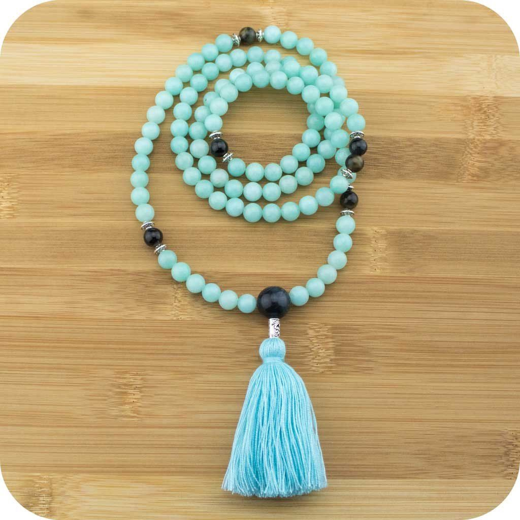 Amazonite Mala Beads Necklace With Blue Tigers Eye Meditative