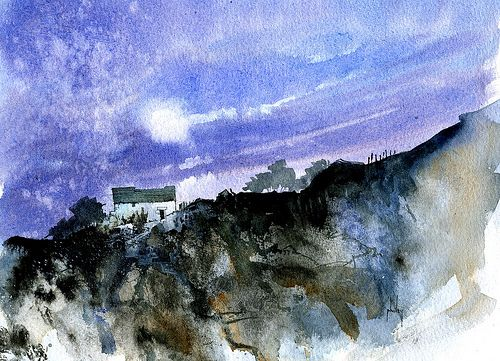 White barn ridge | Watercolour and Indian ink 9 x 6.5 inches… | Paul Bailey | Flickr