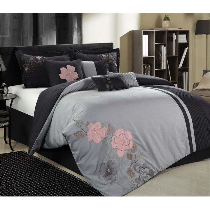 Gardena Charcoal Gray Amp Pink 8 Piece Queen Comforter Bed